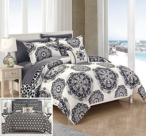 Chic Home Barcelona 8 Piece Reversible Comforter Set Microfiber Printed Medallion Design with Geometric Patterned Backing Bed in a Bag with Sheet Set and Decorative Pillows Shams,Full/Queen Black