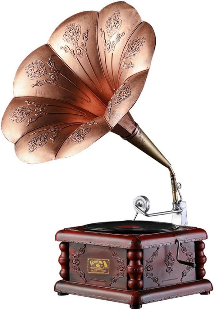 レコードプレーヤーモデルホームリビングルームベッドルームクラフト高級ギフトレトロ蓄音機ヨーロッパの装飾品鉄装飾 家の装飾