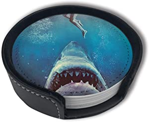 Great White Shark Attack Coasters For Drinks With Holder, Leather Coasters Set Of 6, Round Cups Mugs Mat Pad For Home Kitchen
