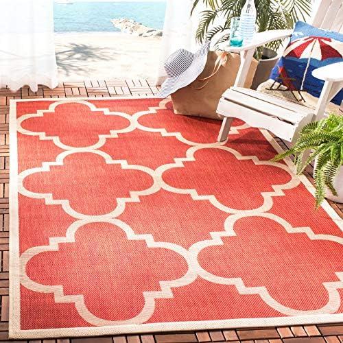 Safavieh Courtyard Collection Quatrefoil Trellis Indoor Outdoor Area Rug, 8 x 10 , Red