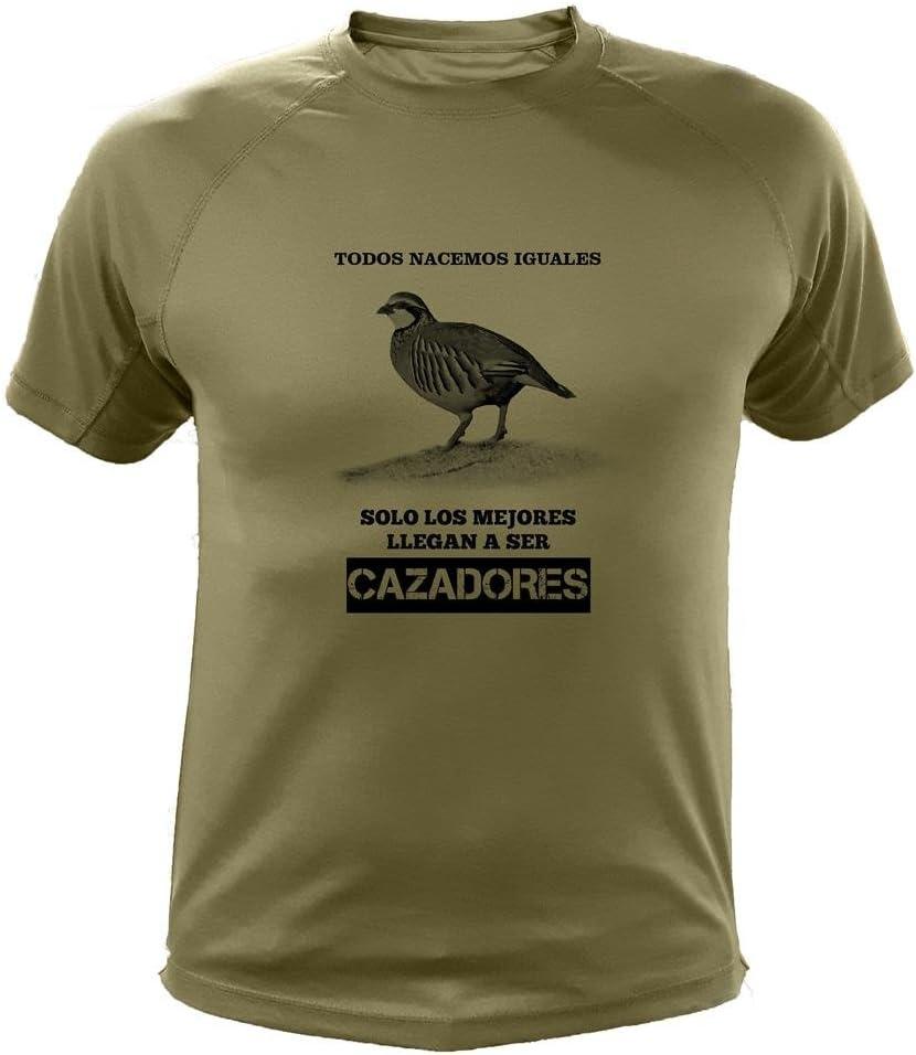 AtooDog Camisetas de Caza, Todos nacemos Iguales, Perdiz roja - Ideas Regalos