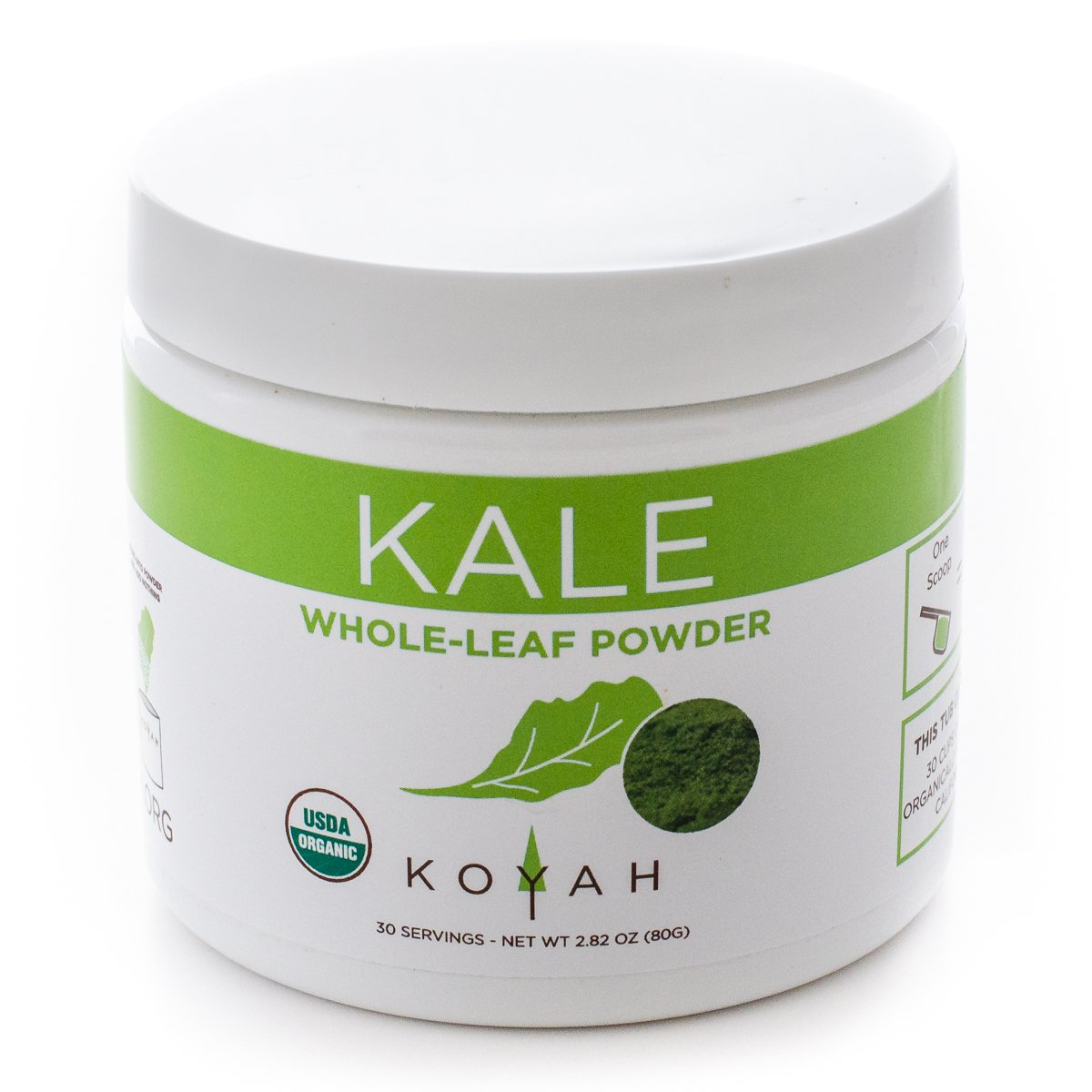 KOYAH - Organic Kale Powder (Equivalent to 30 Cups Fresh): USA Grown, Whole-Leaf Powder, Small-Batch Freeze-dried