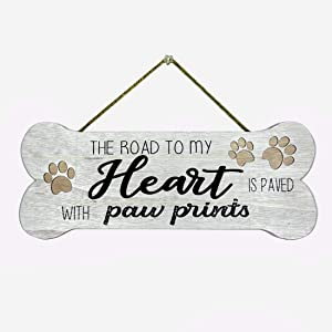 HOMirable Funny Dog Sign, The Road to My Heart is Paved with Paw Prints, Wood Hanging Wall Sign, Bone Shape Home Décor, Farmhouse Plaque Gift for Dog Lover