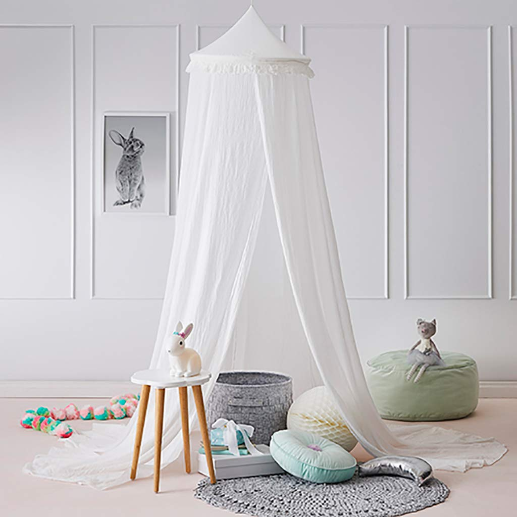 OldPAPA Bed Canopy Mosquito Net Curtains for Children Bed - Toddler Chiffon Crib Canopy Princess Round Dome Tassel Playing Reading Tent Castle Decoration,White