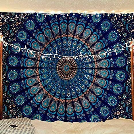 Psychedelic Twin Size Wall Hanging Indian Mandala Tapestry Gypsy Bedspread Throw