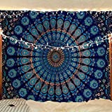 Jaipur Handloom Top Selling Large Peacock Mandala Tapestry A Perfect Hippie, Bohemian, Indian, Boho, Dorm, Hippy, Psychedelic, Wall Hanging (Queen (84 X 85 inches Approx), Blue)