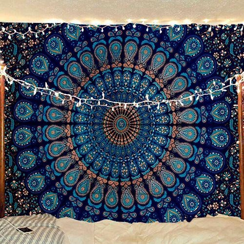 - RAJRANG BRINGING RAJASTHAN TO YOU Peacock Mandala Tapestry - Twin Hippie Wall Hanging Bohemian Decorative Trippy Tapestries Indian Handmade Pure Cotton Boho Bedding - Blue - 84 X 54 Inches