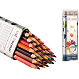 US Sense 36 Watercolor Pencils Set Premier Soft 3.5mm Lead Thicker than Traditional Colored Pencils Ideal for Coloring…