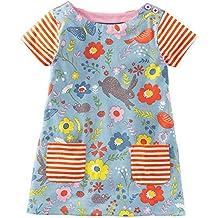 Jobakids Girls Summer Cotton Animal Print Short Sleeve Dress