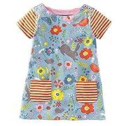Jobakids Little Girls' Summer Cartoon Animal Print Short Sleeve Dress(5T,Color4)