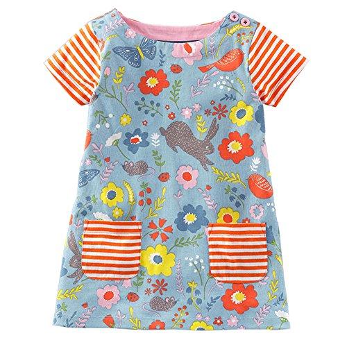 (Jobakids Little Girls' Summer Cartoon Animal Print Short Sleeve Dress(2T,Color4))