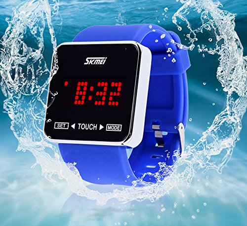 SKMEI Touch Screen Jelly Rubber Band Digital LED Waterproof Boys Girls Sport Casual Wrist Watches Pink by SKMEI (Image #3)