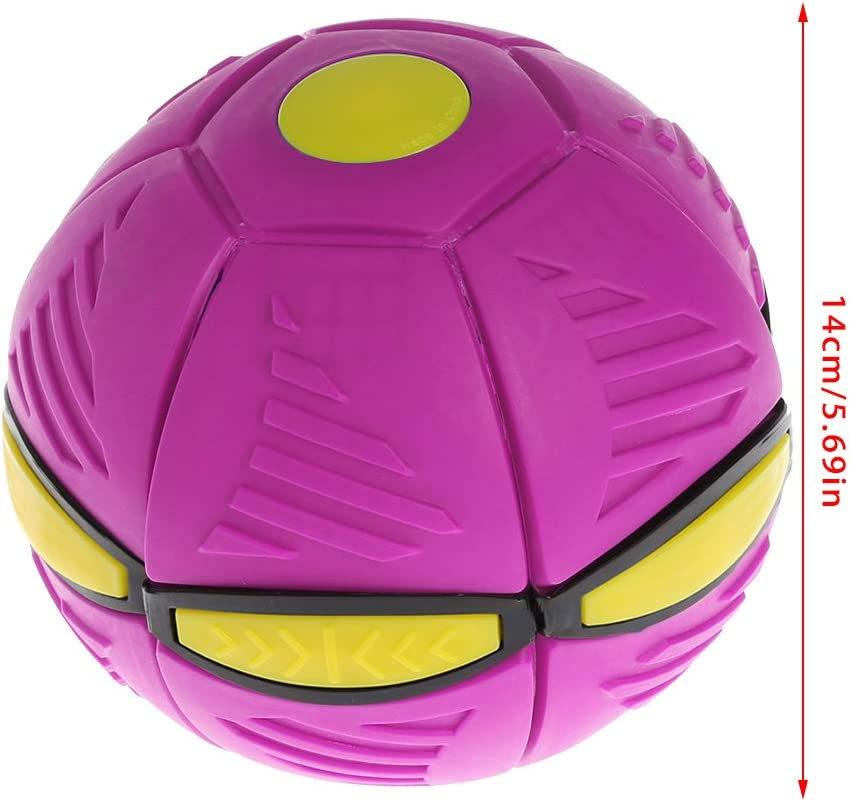 UFO Flat Throw Disc Ball Toy 6 Led Lights Soft For Kids Outdoor Fun Games Purple