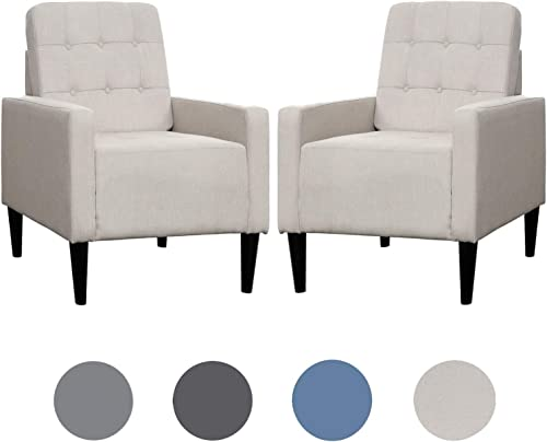 Top Space Accent Chair Living Room Chairs Arm Chair Single Sofa Upholstered Comfy Fabric Mid-Century Modern Furniture