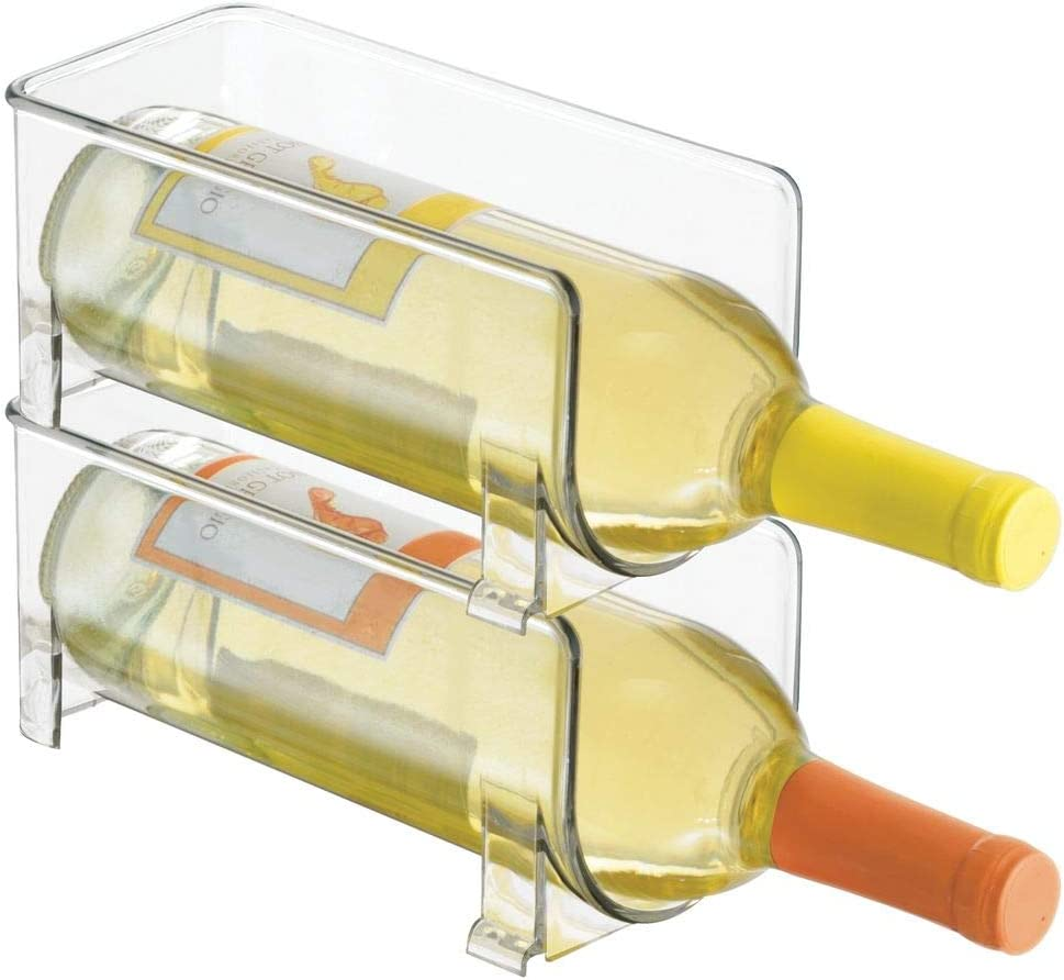mDesign – Soporte para botellas de vino y otras bebidas – Botellero para vinos para dos botellas – Práctico accesorio de cocina – Fabricado con plástico – Color: transparente