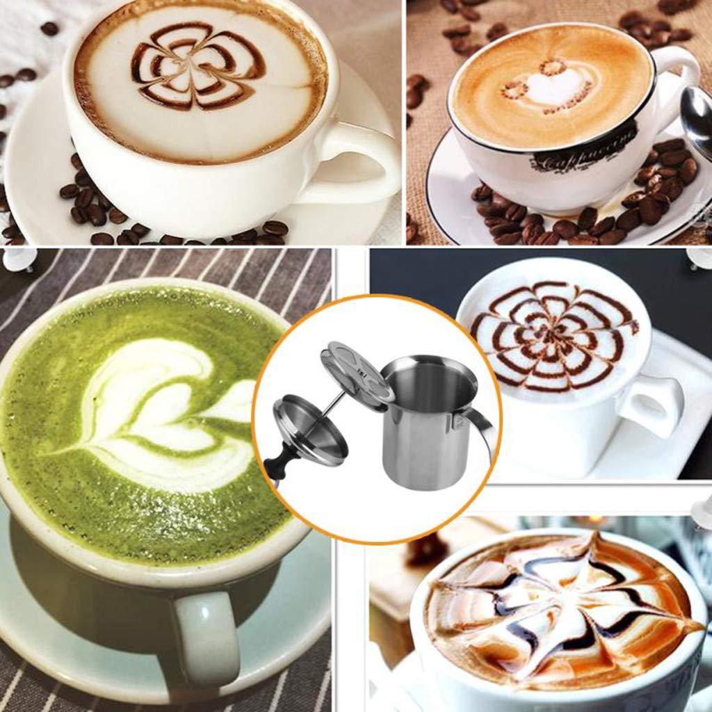 W&Z Leche frother Manual Leche espumante Jarra Espuma Maker Creamer para Cappuccino café con Leche con Doble Malla de Acero Inoxidable,600ml: Amazon.es: ...