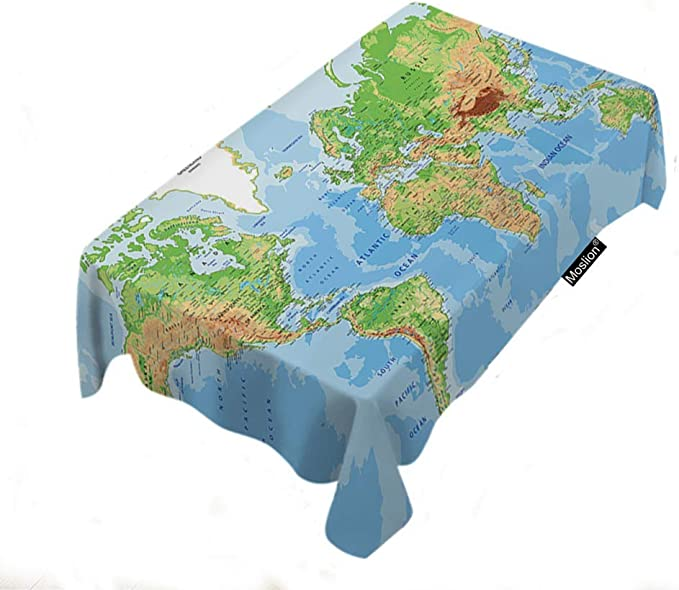 Mapa Mantel Decoración para el hogar Mapa del mundo País Estado Tierra Montaña Océano Tierra Cubiertas de mesa Tejido de poliéster Rectángulo Decorativo Manteles para el comedor Cocina 60x104 Pulgadas: Amazon.es: Hogar