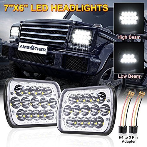 AMBOTHER 7x6 Led Headlights H6054 Led Headlight 5x7 H5054 High/Low Led Sealed Beam Chevy S10 H4 Plug Headlight H6014 H6052 For Jeep Wrangler YJ XJ Cherokee Truck,With H4 to 3 Pin Adapter,3 yr Warranty Mannysen