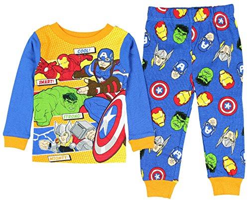 [Marvel Avengers Character Powers Little Boys' Toddler 2 Piece Pajama Set (3T)] (Avengers Superhero)