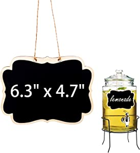 Hanging Chalkboard Signs 6.3''x4.7'' Wooden Reusable Smooth Surface Small Chalk Boards Double-Sided Little Labels for Food Pantry Beverage Baskets (Black, Pack of 6pcs)