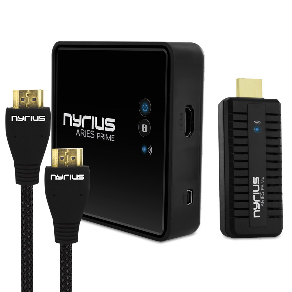 Nyrius ARIES Prime Wireless Video HDMI Transmitter & Receiver for HD 1080p Video Streaming with BONUS HDMI Cable