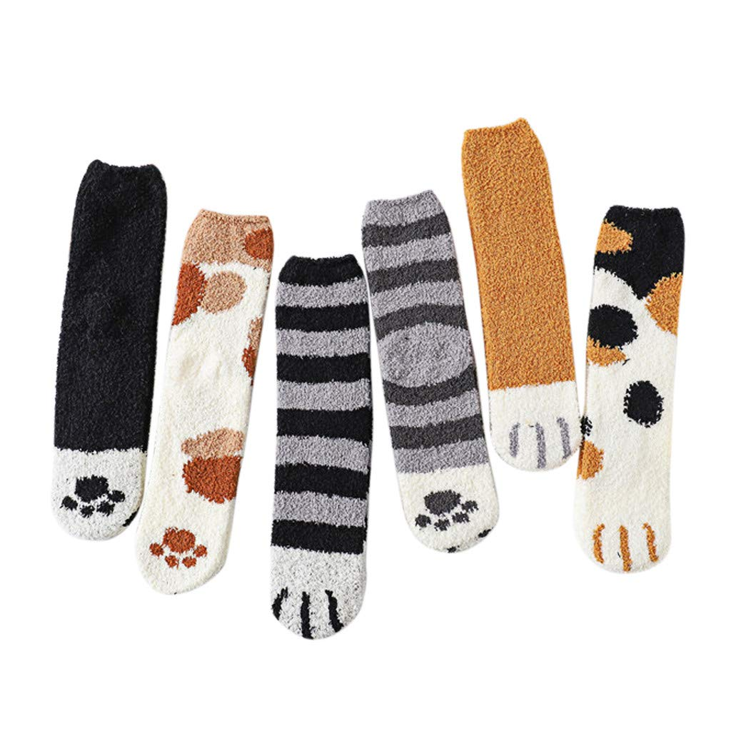 Ladies Womens Girls Novelty Socks,6 Pairs Cute Cat Winter Warm Soft Thick Cotton Casual Crew Mid-Weight Boot Sock (Multi Color)