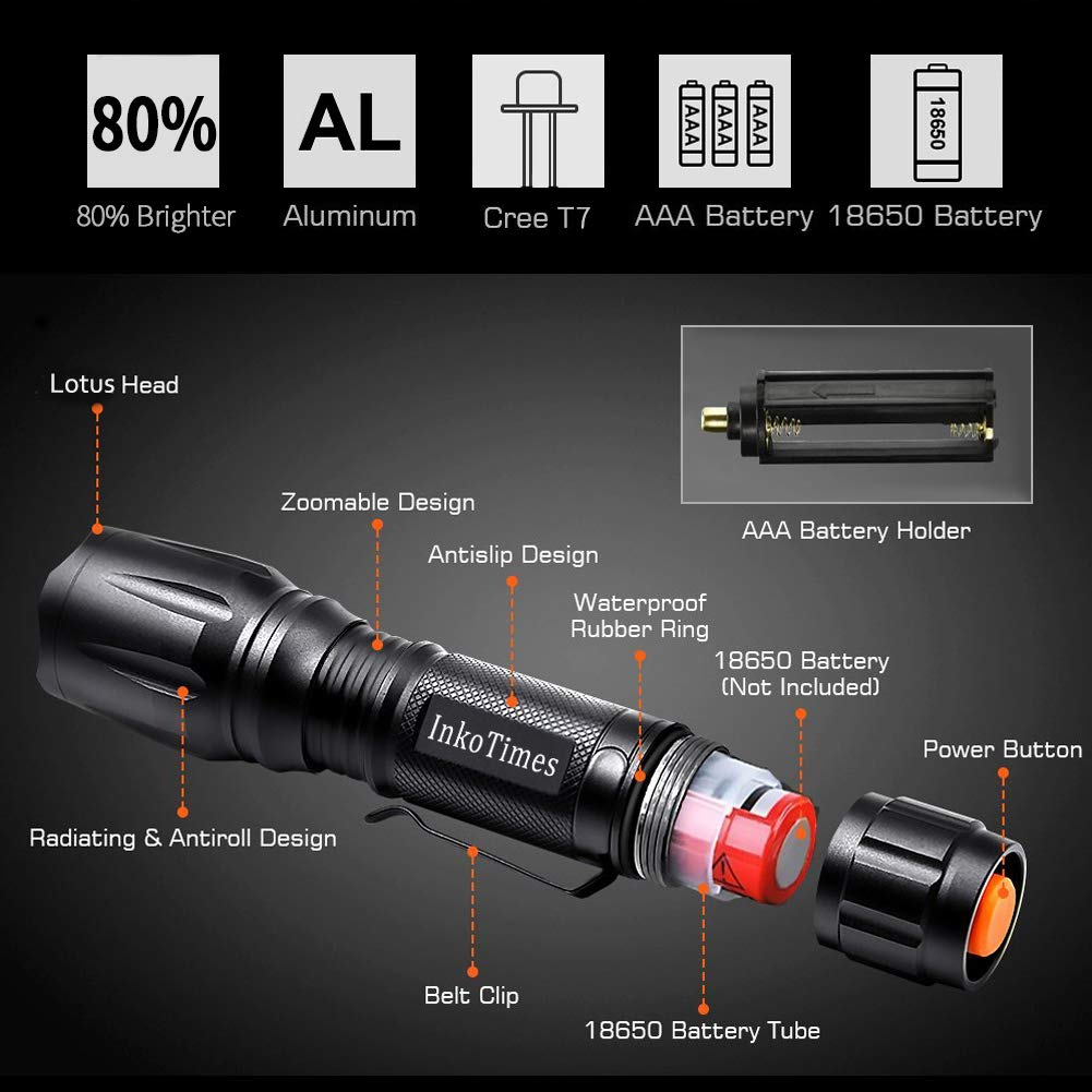 InkoTimes LED Flashlight - i1800S Powerful Waterproof Flashlight - Best for Home, Biking, Camping, Outdoor, Emergency (Batteries Not Included) by InkoTimes (Image #2)