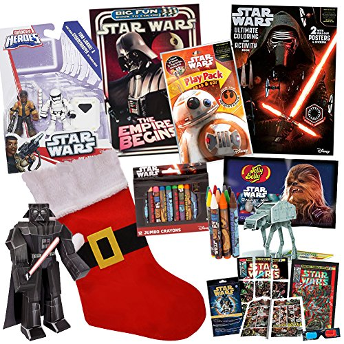 Stocking Stuffer Bundle - Finn 10 Pack - Includes Star Wars Coloring Books, Star Wars Candy, Star Wars Toys and MORE from Original Trilogy Rogue One Last Jedi for Children Ages 4-8 (Rey Beans)