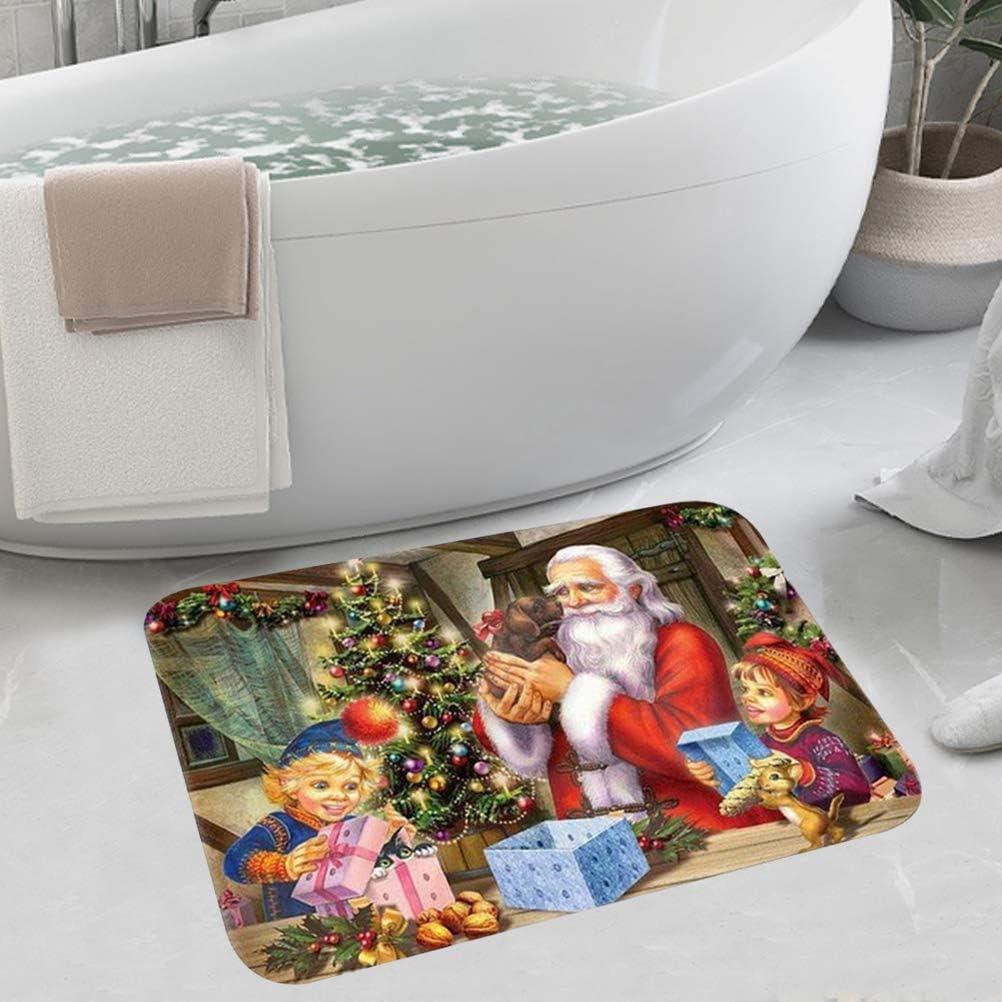 Christmas Door Mat 1 Pack Soft Non-slip Rug Doormat Holiday Welcome Mat for Entrance Bedroom Bathroom Kitchen