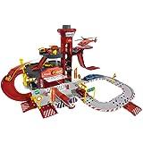Majorette-212050015- Creatix Rescue Station Pompier, Circuit voiture miniature , 1 Hélicoptère Et 1 Voiture