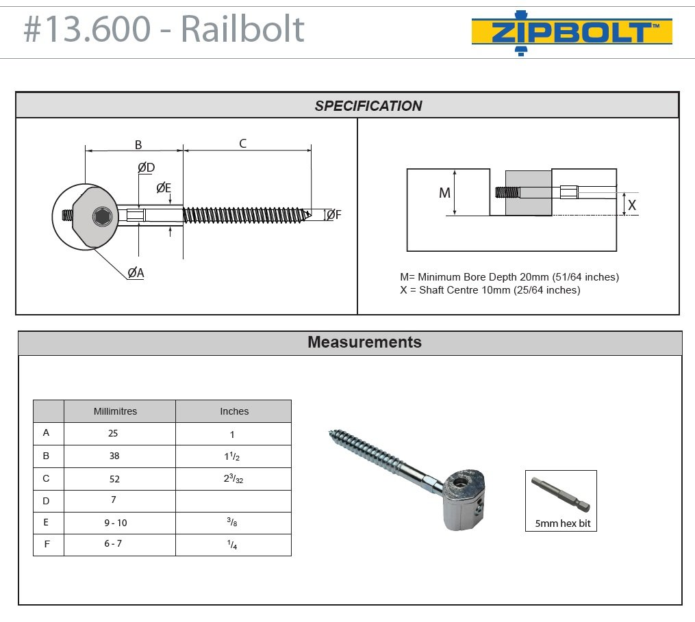 Zipbolt 13.600 UT Railbolt - Connects Staircase Handrails to Balusters, Spindles, Newels - 10 Pack - Includes 5mm Hex Bit with Quick Release Shank