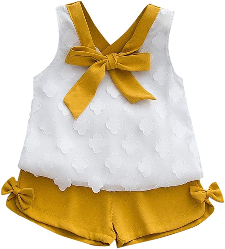 Shorts for Toddler Kids Girls 2T-7T Transser Baby Girl Clothes Outfit Set Bowknot Sleeveless T-Shirt