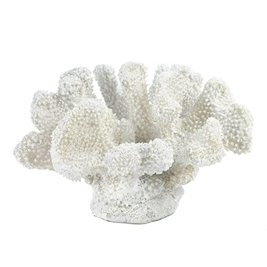 Christmas Tablescape Decor - Small white faux cauliflower coral tabletop décor