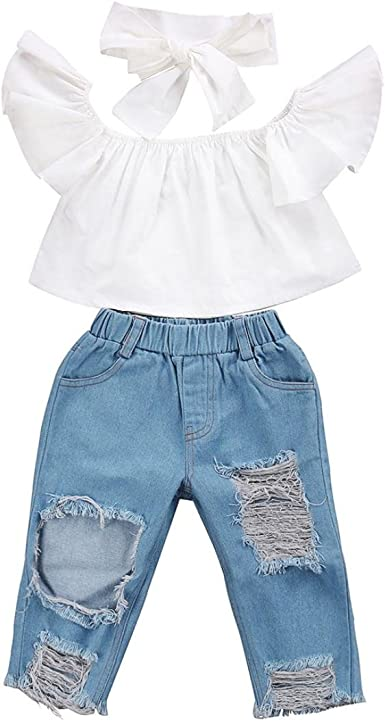 US Toddler Baby Kid Infant Girl Ruffle Tops Pants Flares Trousers Outfit Clothes