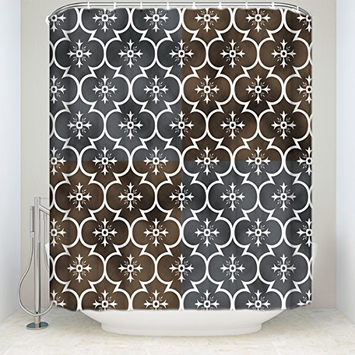 EZON-CH Shower Curtains Vintage Geometric Pattern Brown Prin