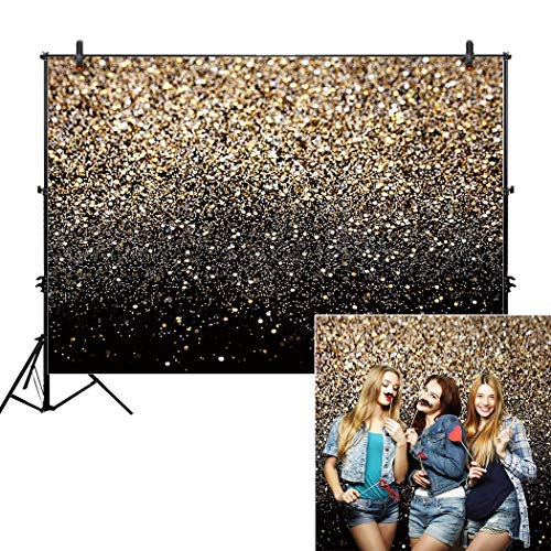 Allenjoy 7x5ft Gold Glitter Paint Backdrop for Photography Astract Sparkly Sequin Bokeh Spot Starry Sky Wedding Adult Baby Children Family New Year Party Decor Portrait Shooting Photo Studio Booth