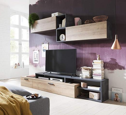 Composad - Juego de muebles de salón modular completo, color gris antracita, gris cemento y roble natural: Amazon.es: Bricolaje y herramientas