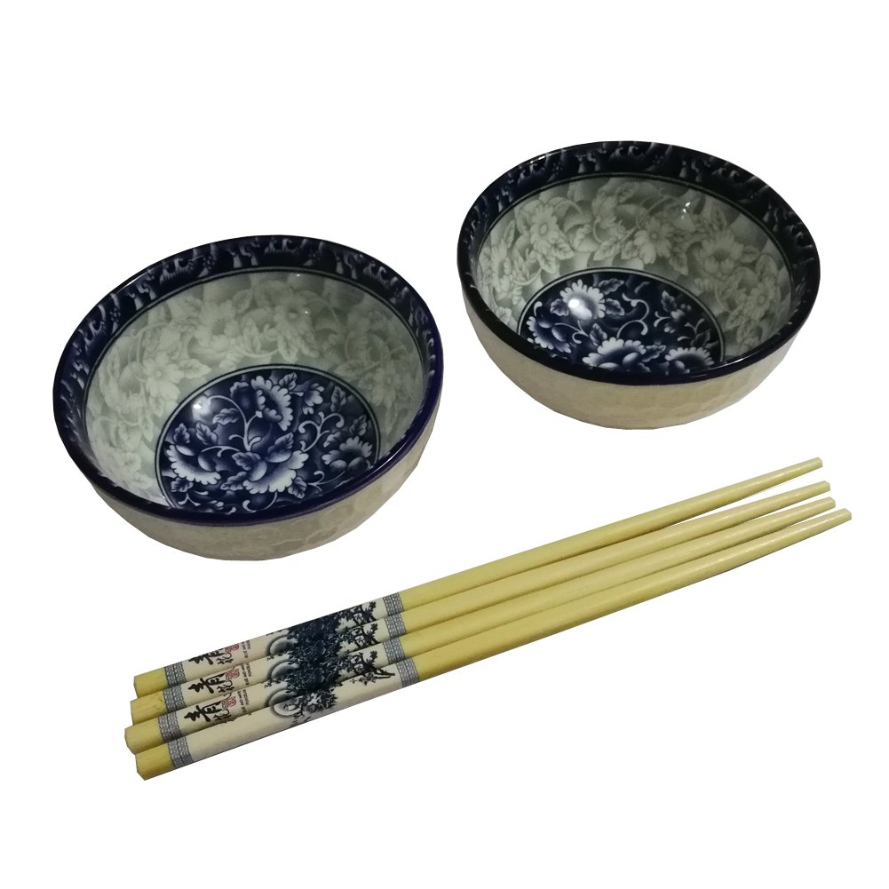 FINECASA 4.5 inch Small Porcelain Rice/Soup Bowls Chinese Style Blue Dream-B Series Dinnerware Set of 2
