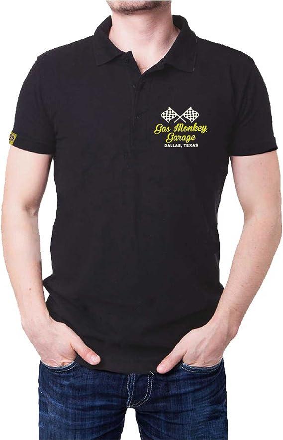 Gas Monkey Garage T Shirt Blood Sweat And Beers Offiziell Herren Schwarz Polo Bekleidung