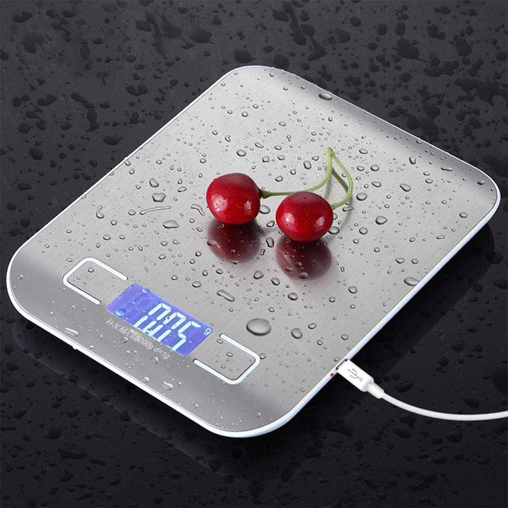 5KG Digital Kitchen Scale USB Rechargeable Food Scale 0.04oz/1g Increment Ultra Slim Food Scale with Tare & Auto Off Function Back-Lit LCD Stainless Steel (Sliver 5kg/1g)