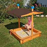 MD Group Sandbox Smoothly Finish Wooden Frame Kids Outdoor Play Box w/ Heavy-duty Vinyl Roof Cover