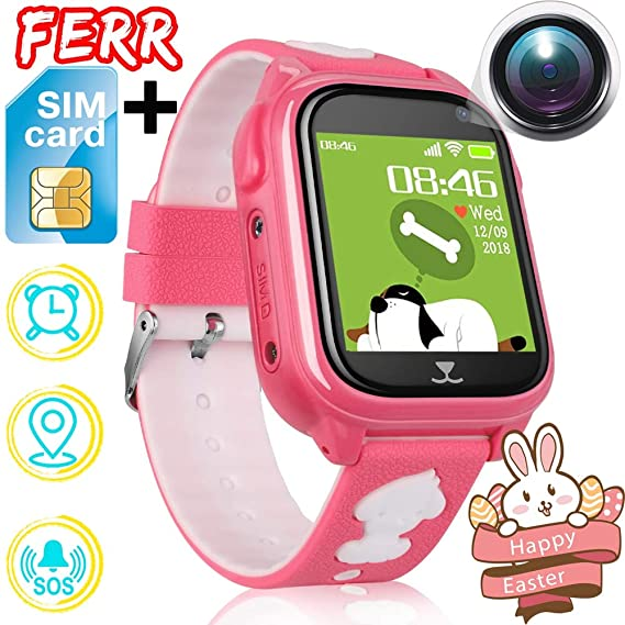 [Free SIM Card] Kids Phone Smart Watch IP68 Waterproof GPS Tracker for Boys Girls Fitness Tracker Two Way SOS Phonewatch Anti-Lost Game Camera ...