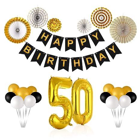 Triwol Gold 50th Birthday Decorations Kit