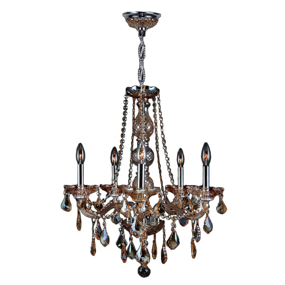 "Worldwide Lighting Provence Collection 5 Light Chrome Finish and Amber Crystal Chandelier 21"" D x 26"" H Medium"