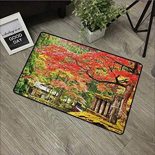 Moses Whitehead Carpets Indoor/Outdoor Area Rugs Japanese,Autumn Scenery with Sakura Tree Cherry Blooms in Nikko Provinence Japan,Vermilion Green Brown,with Non Slip Backing,35