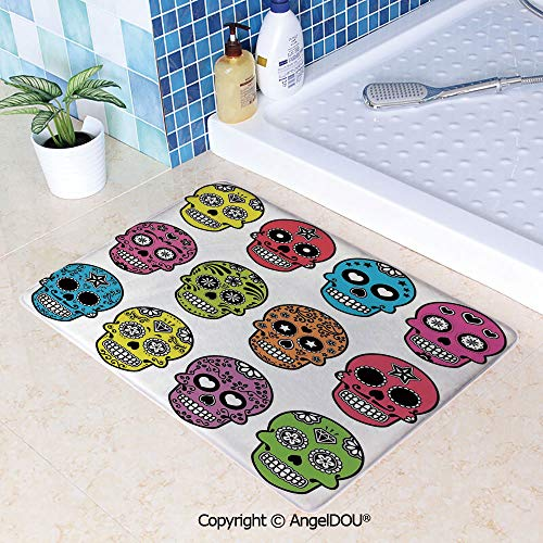 SCOXIXI Living Room Bedroom Carpet Thicken Non-Slip Mat Ornate Colorful Traditional Mexian Halloween Skull Icons Dead Humor Folk Art Print for Home Hotel Cafe Restaurant Area Rugs - Six Cast Light Ornate