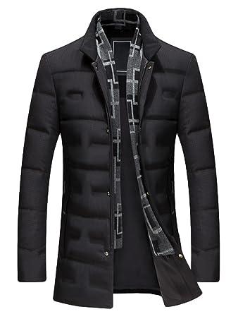 huge inventory 07169 054b4 Vogstyle Uomo Invernale Giubbotto Piumino Caldo Slim Fit Cappotto con  Sciarpa Collare