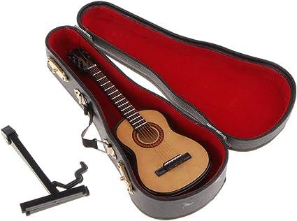Exquisita Mini Guitarra De Madera En Miniatura Con Estuche Y ...