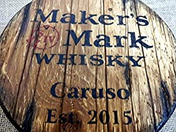 Personalized decorative Sign - whiskey barrel top | Handpainted Maker\'s Mark Bourbon artwork and your additional message on a carved, distressed wood sign | Rustic wall decor