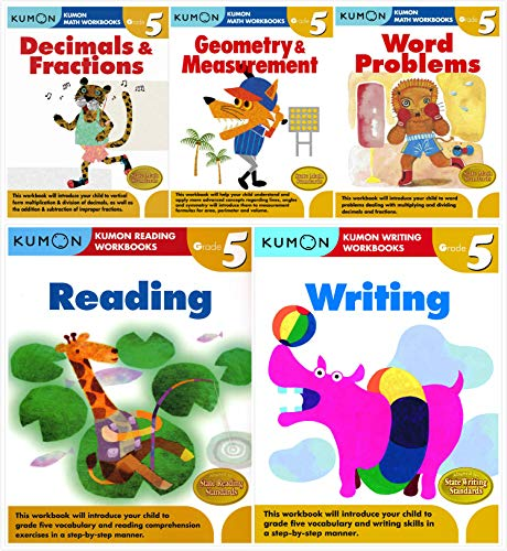 Kumon Workbooks Grade 5 Complete Set (5 Books) - Decimals&Fractions, Geometry&Measurement, Word Problems, Reading and Writing (Complete Set Grade)
